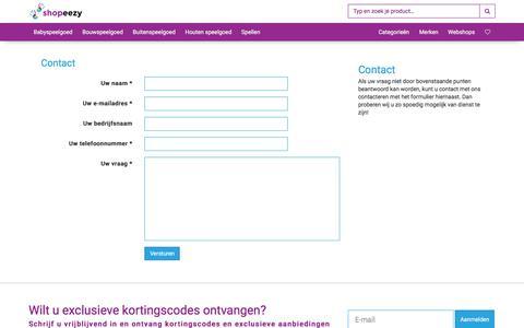 Screenshot of Contact Page shopeezy.nl - Contact   Shopeezy.nl - captured Oct. 4, 2017