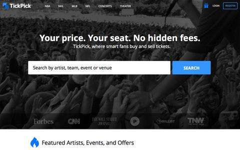 Screenshot of Home Page tickpick.com - TickPick | Where Smart Fans Buy, Sell and Bid on Tickets - captured Oct. 14, 2015