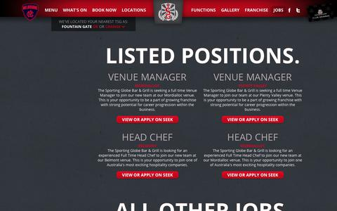 Screenshot of Jobs Page sportingglobe.com.au - The Sporting Globe / Jobs - captured Nov. 16, 2018