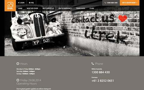 Screenshot of Contact Page itrektravelinsurance.com.au - Contact us- itrek - captured Sept. 24, 2014