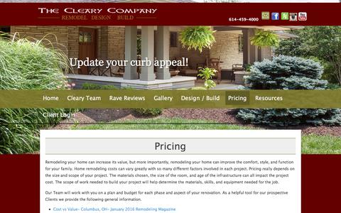 Screenshot of Pricing Page clearycompany.com - The Cleary Company  – Columbus Ohio Home Remodeler  » Pricing - captured Dec. 3, 2016