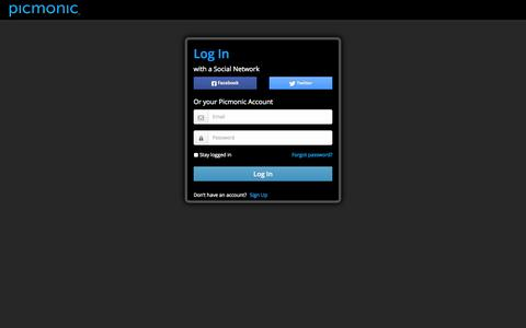 Screenshot of Login Page picmonic.com - Picmonic Learning System :: Picmonic - captured Sept. 17, 2014