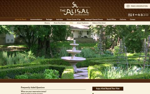 Screenshot of FAQ Page alisal.com captured Oct. 30, 2014