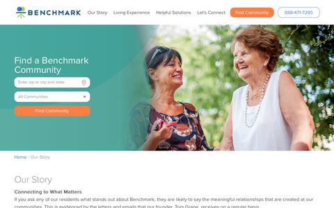 Screenshot of About Page benchmarkseniorliving.com - Our Story | Benchmark Senior Living - captured May 31, 2018