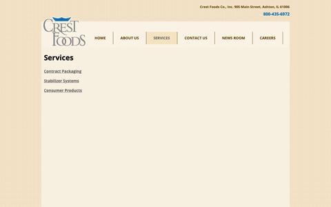 Screenshot of Services Page crestfoods.com - Crest Foods » Services - captured Sept. 30, 2018