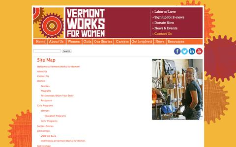 Screenshot of Site Map Page vtworksforwomen.org - Site Map - Vermont Works for Women - captured Oct. 26, 2014