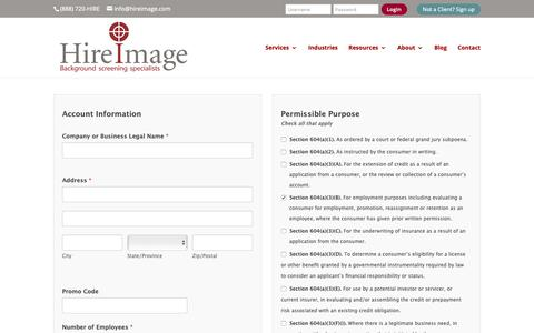 Screenshot of Signup Page hireimage.com - Begin Your Background Check Today | Hire Image - captured Sept. 28, 2018