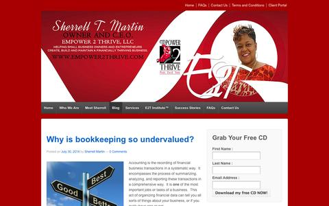 Screenshot of Blog empower2thrive.com - Empower 2 Thrive Blog, Outsourced Accounting and Bookkeeping, Virtual CFO, Certified QuickBooks ProAdvisor, Certified Freshbooks Accountant,  Washington DC Area | Empower 2 Thrive, LLC - captured Oct. 2, 2014
