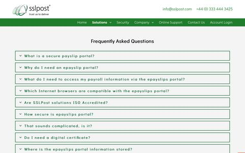 Screenshot of FAQ Page sslpost.com - Secure payslip portal - frequently asked questions - SSLPost - captured July 26, 2018