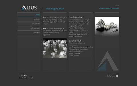 Screenshot of Home Page alius.biz - Alius Consulting - Global Diamond Industry Consultancy Services - captured Oct. 3, 2018