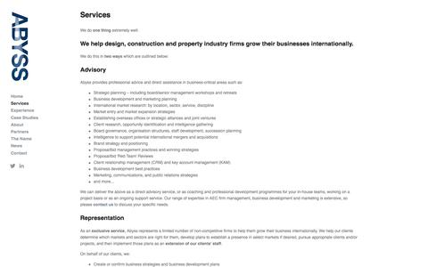 Screenshot of Services Page abyssglobal.com - Services — Abyss Global Ltd. - International business growth for architecture, engineering and construction - captured Nov. 20, 2016
