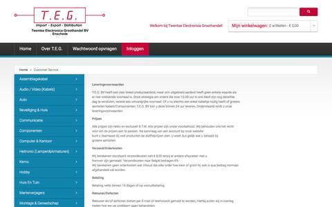 Screenshot of Support Page teg-bv.nl - Customer Service - captured Feb. 18, 2016