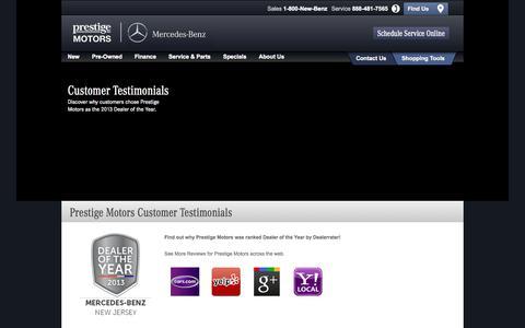 Screenshot of Testimonials Page prestigemb.com - Prestige Motors Customer Reviews | Testimonials - captured Nov. 2, 2014
