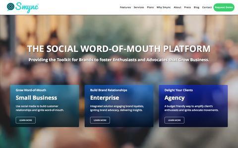 Screenshot of Home Page smync.com - Smync - captured Aug. 17, 2015