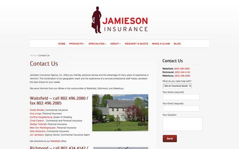 Screenshot of Contact Page Locations Page jamiesonins.com - Contact Us - captured Nov. 26, 2016