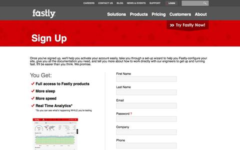 Screenshot of Signup Page fastly.com - Sign Up | Fastly - The Next Gen CDN - captured Oct. 10, 2014