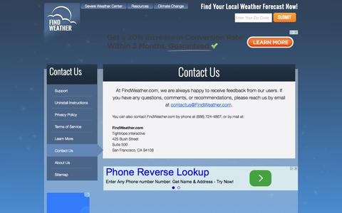 Screenshot of Contact Page findweather.com - Contact Us | FindWeather.com - captured Oct. 30, 2014