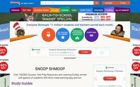Screenshot of Home Page shmoop.com - Shmoop: Homework Help, Teacher Resources, Test Prep - captured Oct. 2, 2015