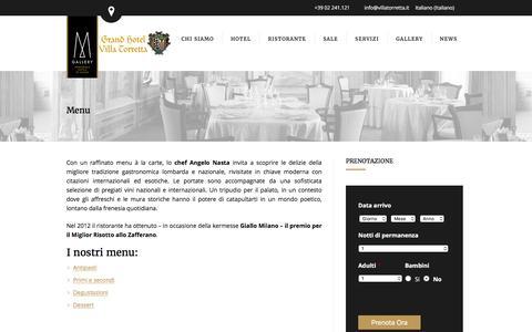 Screenshot of Menu Page villatorretta.it - Menu - Grand Hotel Villa Torretta - captured Feb. 1, 2016