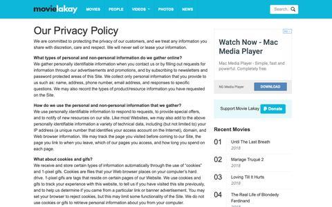 Screenshot of Privacy Page movielakay.com - Privacy Policy - Movie Lakay - captured Nov. 19, 2018