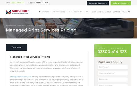 Screenshot of Pricing Page midshire.co.uk - Managed Print Services Pricing | Cost of MPS | Midshire - captured Sept. 20, 2018