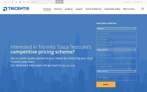 Screenshot of Pricing Page tricentis.com - Tricentis Tosca Testsuite - Pricing - captured Dec. 5, 2016