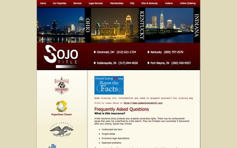Screenshot of FAQ Page sojotitle.com - Sojourner's Title Agency   Frequently Asked Questions - captured Oct. 7, 2014