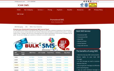 Screenshot of Services Page icansms.com - Bulk SMS Service for Promotional SMS ,Reliable SMS Delivery| ICAN SMS - captured Sept. 30, 2018