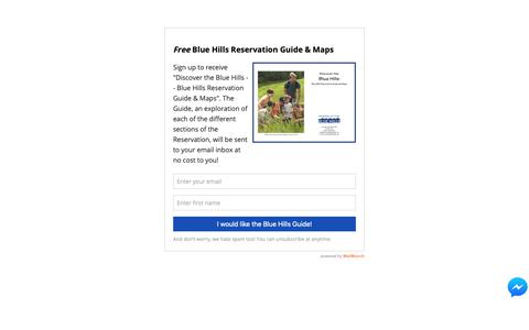 Screenshot of Signup Page friendsofthebluehills.org - Blue Hills Guide   Friends of the Blue Hills - captured Dec. 10, 2018
