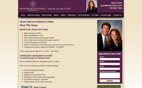 Screenshot of Team Page integrityonerealtors.com - About Patti and Michael Urbatis, your Central Ohio Real Estate Professionals - captured June 18, 2016