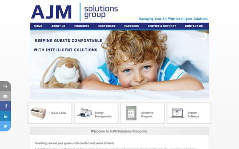 Screenshot of Home Page ajmsolutionsgroup.com - AJM Solutions Group Inc.  - Hospitality Solutions - captured Feb. 4, 2016