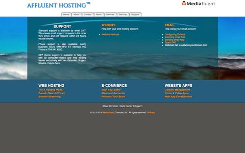 Screenshot of Support Page affluenthosting.com - Support ~ Affluent Hosting - captured April 24, 2016