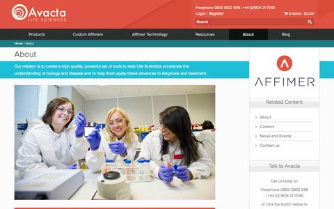 Screenshot of About Page avactalifesciences.com - Avacta Life Sciences - About Us - captured Oct. 29, 2014