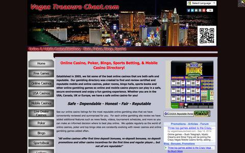Screenshot of Home Page vegastreasurechest.com - Online and Mobile Casino Directory - Online and Mobile Casino Listings - VegasTreasureChest.com - captured Oct. 9, 2014