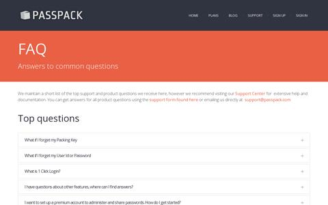 Screenshot of FAQ Page passpack.com - FAQ - Passpack.com - captured July 19, 2014