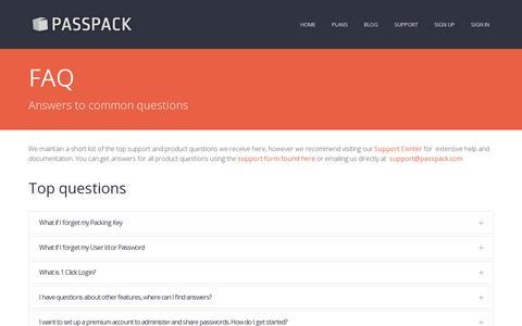 Screenshot of FAQ Page passpack.com - FAQ - Passpack.com - captured July 19, 2014
