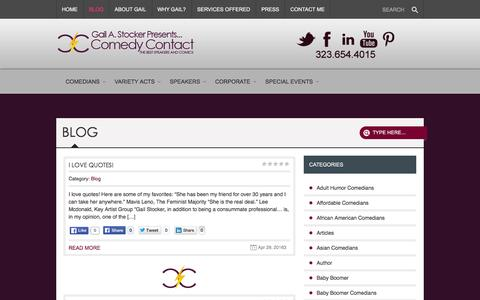 Screenshot of Blog comedycontact.com - Blog | Comedy Contact - Gail A. Stocker Presents... - captured June 1, 2016
