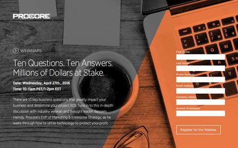 Screenshot of Landing Page procore.com - Ten Questions. Ten Answers. Millions of Dollars at Stake. - captured April 14, 2016
