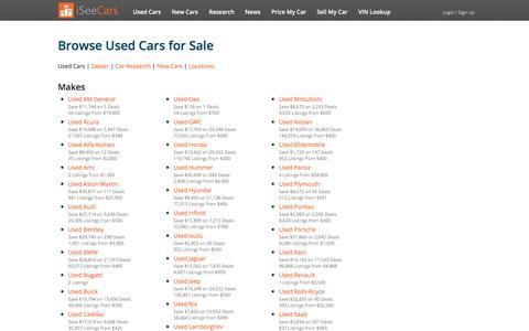Screenshot of Site Map Page iseecars.com - Used Cars Sitemap - iSeeCars.com - captured Nov. 4, 2017