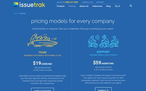 Screenshot of Pricing Page issuetrak.com - Issuetrak Pricing Plans To Fit Your Needs - captured April 6, 2017