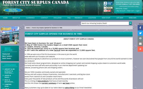 Screenshot of About Page fcsurplus.ca - About Forest City Surplus Canada - Surplus deals since 1980 - Forest City Surplus Canada - discount prices - captured Oct. 4, 2018
