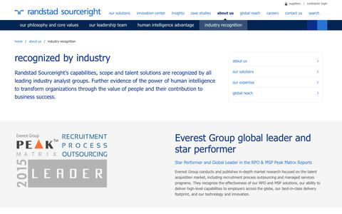 Industry Recognition | Randstad Sourceright