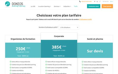 Screenshot of Trial Page dokeos.com - Tarifs des produits et services Dokeos - captured May 19, 2017