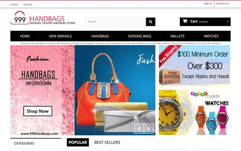Screenshot of Home Page 999handbags.com - Buy All Wholesale Handbags under $9.99 - 999 Handbags - captured Nov. 10, 2015