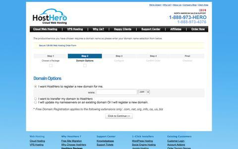 Screenshot of Signup Page hosthero.com - Shopping Cart - HostHero - captured Sept. 30, 2014