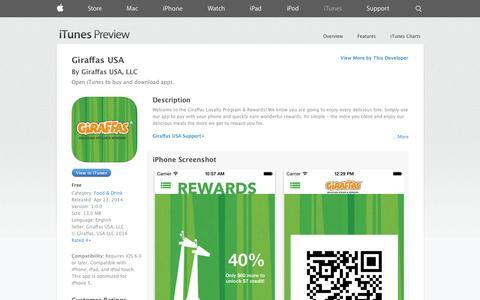 Screenshot of iOS App Page apple.com - Giraffas USA on the App Store on iTunes - captured Oct. 22, 2014
