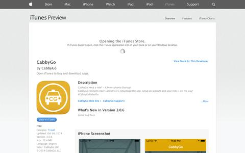 Screenshot of iOS App Page apple.com - CabbyGo on the App Store on iTunes - captured Oct. 22, 2014