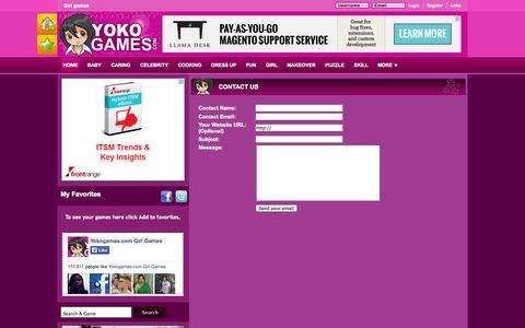 Screenshot of Contact Page yokogames.com - Contact - captured Nov. 1, 2014
