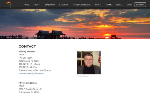 Screenshot of Contact Page floridacoaches.org - Contact - Florida Athletic Coaches Association - captured April 26, 2018