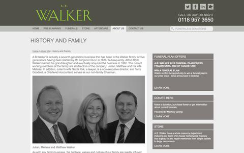 Screenshot of About Page abwalker.co.uk - History and Family - Funeral Directors Berkshire | Funerals Oxfordshire | A.B. Walker - captured Sept. 25, 2017